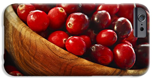 Sour iPhone Cases - Cranberries in a bowl iPhone Case by Elena Elisseeva