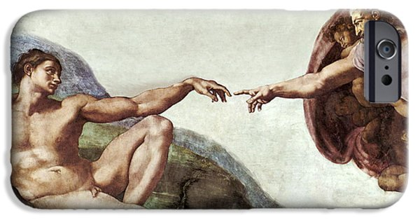 Michaelangelo iPhone Cases - Creation Of Adam iPhone Case by Sheila Terry
