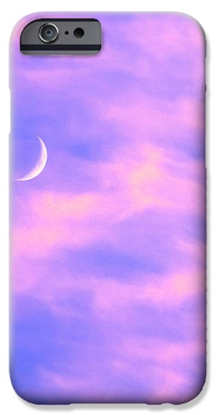 Crescent Moon Behind Cirrus Cloud in the Evening iPhone Case by Gordon Wood