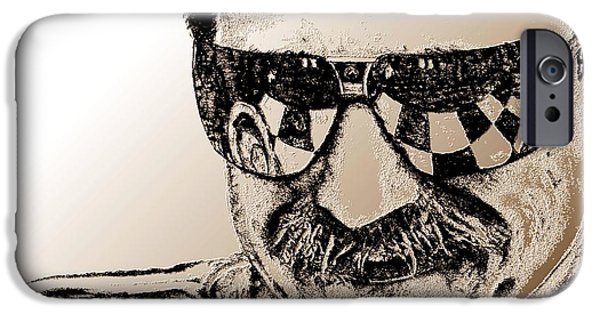 Celebrities Art iPhone Cases - Dale Earnhardt Sr in 1995 iPhone Case by J McCombie