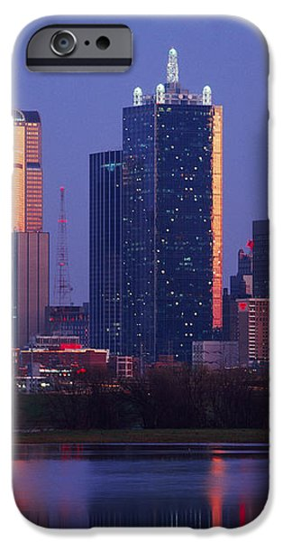 Dallas Skyline Reflected in Pond at Dusk iPhone Case by Jeremy Woodhouse