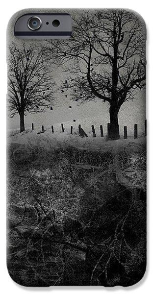 Tree Roots Digital iPhone Cases - Dark Roost iPhone Case by Ron Jones