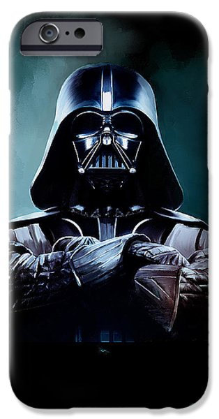 Poster iPhone Cases - Darth Vader Star Wars  iPhone Case by Michael Greenaway