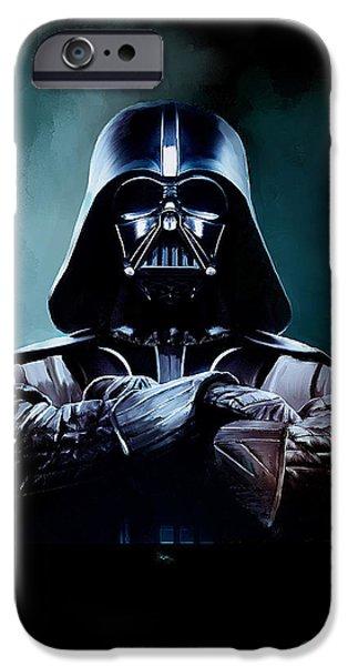 Darth Vader Star Wars  iPhone Case by Michael Greenaway