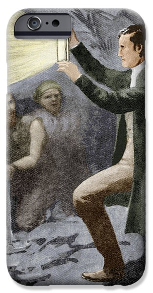 Nineteenth iPhone Cases - Davy Testing His Mining Lamp iPhone Case by Sheila Terry