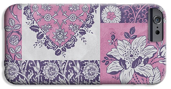 Carpet iPhone Cases - Deco Heart Pink iPhone Case by JQ Licensing