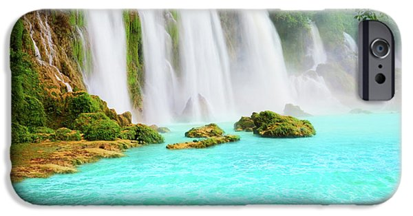 Water iPhone Cases - Detian waterfall iPhone Case by MotHaiBaPhoto Prints