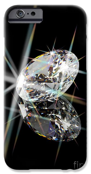 Stones Jewelry iPhone Cases - Diamond iPhone Case by Atiketta Sangasaeng