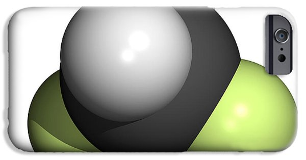 Pollutant iPhone Cases - Difluoromethane Molecule iPhone Case by Friedrich Saurer