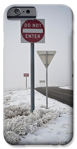 Freeze Warning iPhone Cases - Do Not Enter Signs by Snowy Road iPhone Case by Dave & Les Jacobs