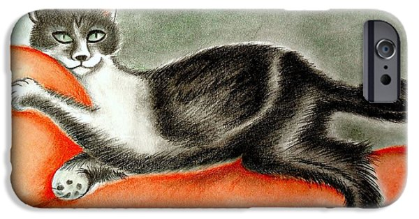 Beautiful Cat Drawings iPhone Cases - Dora iPhone Case by Monica  Vega