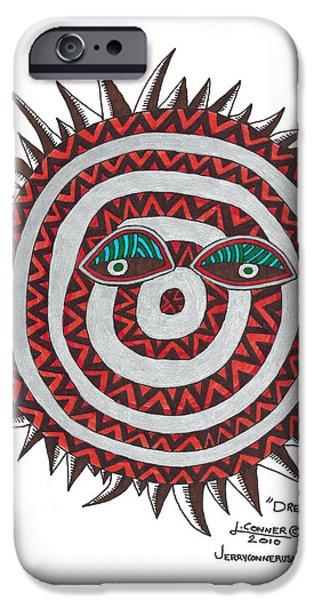 Simplicity Drawings iPhone Cases - Indian Mask iPhone Case by Jerry Conner