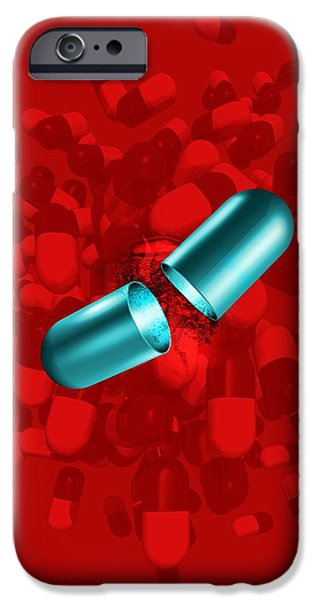 Healthcare And Medicine iPhone Cases - Drug Capsules, Artwork iPhone Case by Victor Habbick Visions