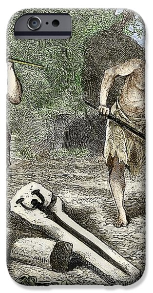 Early Humans Smelting Bronze iPhone Case by Sheila Terry