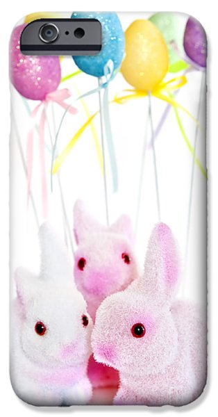 Pastel iPhone Cases - Easter bunny toys iPhone Case by Elena Elisseeva