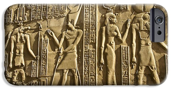 Horus iPhone Cases - Egyptian Temple Art iPhone Case by Michele Burgess