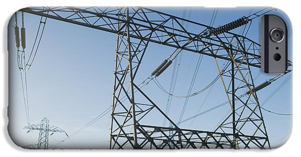 Electrical Equipment Photographs iPhone Cases - Electricity Pylons Against A Clear Blue iPhone Case by Iain  Sarjeant