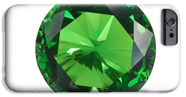 Close Up Jewelry iPhone Cases - Emerald Isolated iPhone Case by Atiketta Sangasaeng