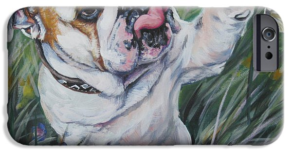 Puppy Paintings iPhone Cases - English Bulldog iPhone Case by Lee Ann Shepard