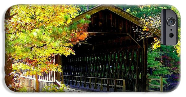 Covered Bridge iPhone Cases - Enticement iPhone Case by Karen Wiles