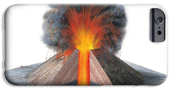 Mounds iPhone Cases - Erupting Cinder Cone, Artwork iPhone Case by Gary Hincks