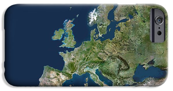 North Sea iPhone Cases - Europe, Satellite Image iPhone Case by Planetobserver