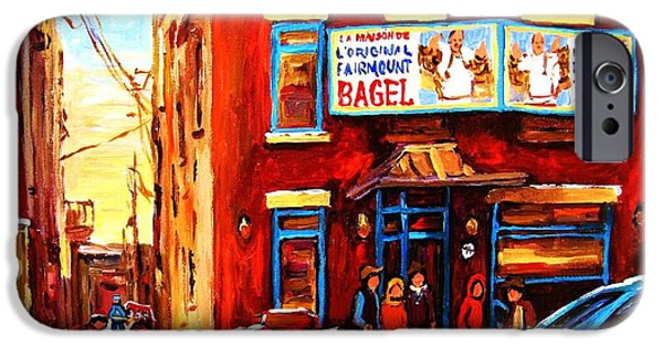 Snowy Day Paintings iPhone Cases - Fairmount Bagel in Winter iPhone Case by Carole Spandau