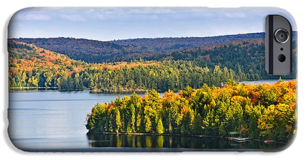 Forest iPhone Cases - Fall forest and lake iPhone Case by Elena Elisseeva