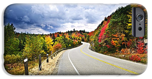 Autumn Road iPhone Cases - Fall highway iPhone Case by Elena Elisseeva