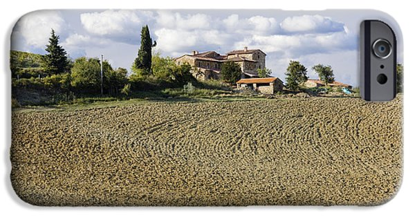 Chianti Landscape iPhone Cases - Farmhouse and Field iPhone Case by Jeremy Woodhouse