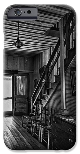 Ladder Back Chairs iPhone Cases - Farmhouse Entry Hall and Stairs iPhone Case by Lynn Palmer