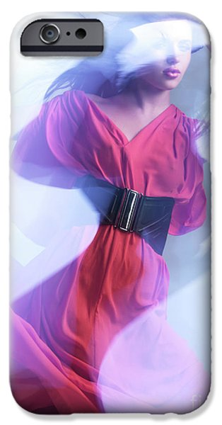 Glass Wall iPhone Cases - Fashion Photo of a Woman in Shining Blue Settings Wearing a Red  iPhone Case by Oleksiy Maksymenko