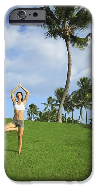 Athlete Photographs iPhone Cases - Female doing Yoga iPhone Case by Brandon Tabiolo - Printscapes