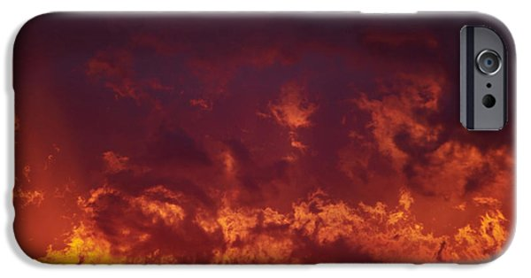 Gloaming iPhone Cases - Fiery Clouds iPhone Case by Michal Boubin