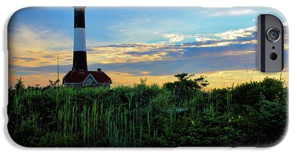 Clouds Photographs iPhone Cases - Fire Island Lighthouse iPhone Case by Rick Berk