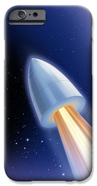 Rockets iPhone Cases - Flight To The Moon By Jules Verne iPhone Case by Detlev Van Ravenswaay