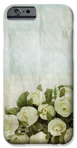 Torn iPhone Cases - Floral Pattern On Old Paper iPhone Case by Setsiri Silapasuwanchai