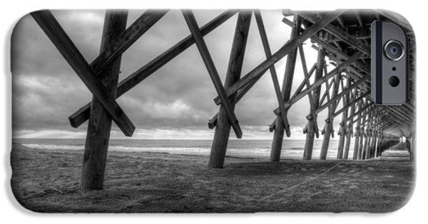 Folly iPhone Cases - Folly Beach Pier Black and White iPhone Case by Dustin K Ryan
