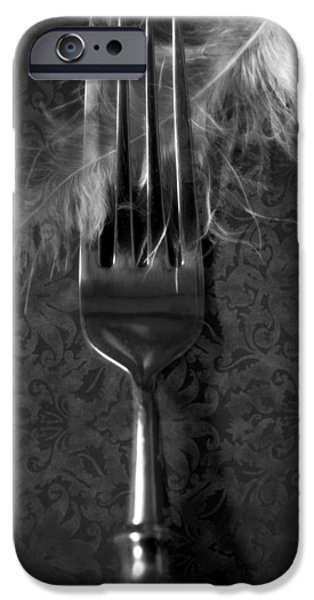 Table Cloth iPhone Cases - Fork And Feather iPhone Case by Joana Kruse
