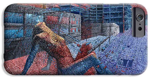 Mosaic Drawings iPhone Cases - Fragment Expression iPhone Case by Bekim Mehovic