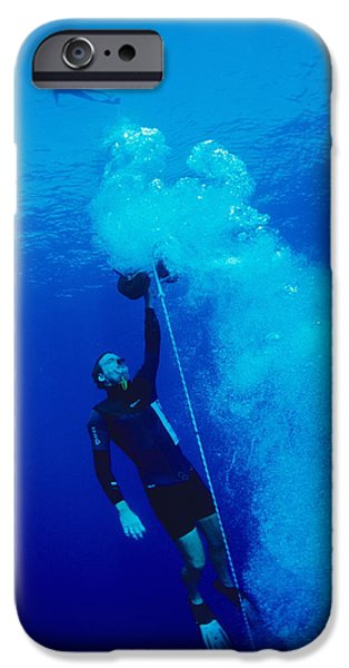 Free-diver iPhone Cases - Freediver Ascending iPhone Case by Alexis Rosenfeld