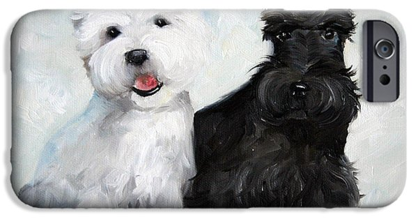 Scottish Terrier Art iPhone Cases - Friends iPhone Case by Mary Sparrow