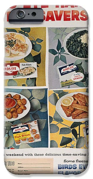 Birdseye iPhone Cases - Frozen Food Ad, 1957 iPhone Case by Granger