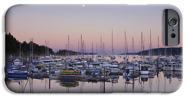 Bc Coast iPhone Cases - Full Moon Over Ganges Harbor iPhone Case by Rob Tilley