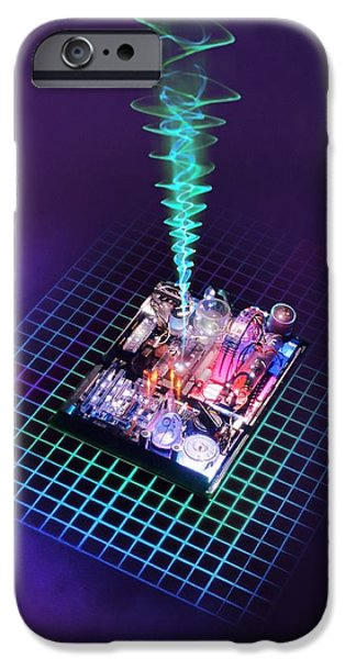 Electrical Component iPhone Cases - Future Computing, Conceptual Image iPhone Case by Richard Kail