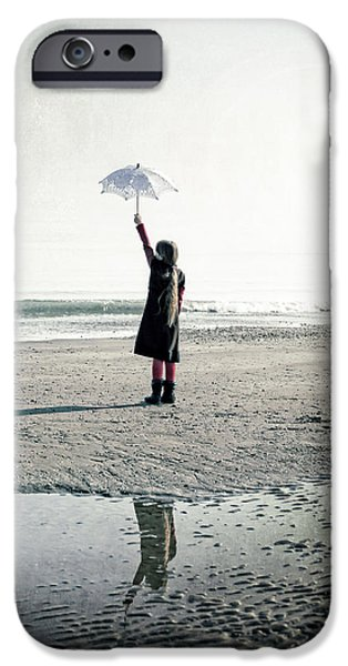 Girl on the beach with parasol iPhone Case by Joana Kruse