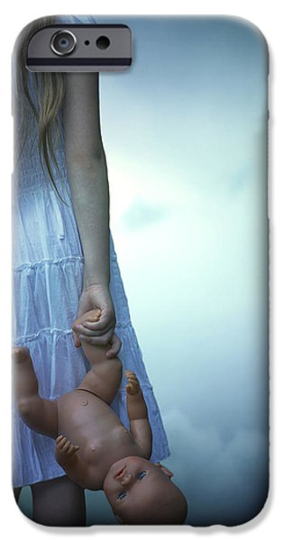 girl with baby doll iPhone Case by Joana Kruse