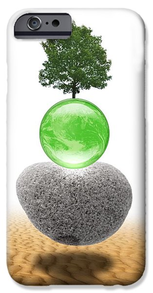 Global Greens iPhone Cases - Global Environment, Conceptual Artwork iPhone Case by Victor Habbick Visions
