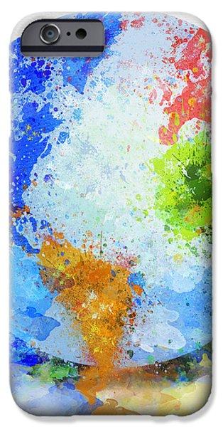 globe painting iPhone Case by Setsiri Silapasuwanchai