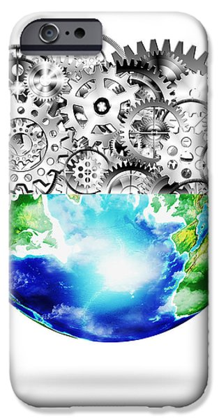 globe with cogs and gears iPhone Case by Setsiri Silapasuwanchai